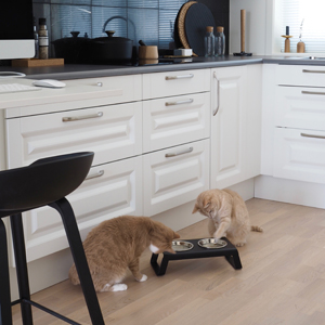 The timeless Desco cat feeder blends in perfectly with the kitchen